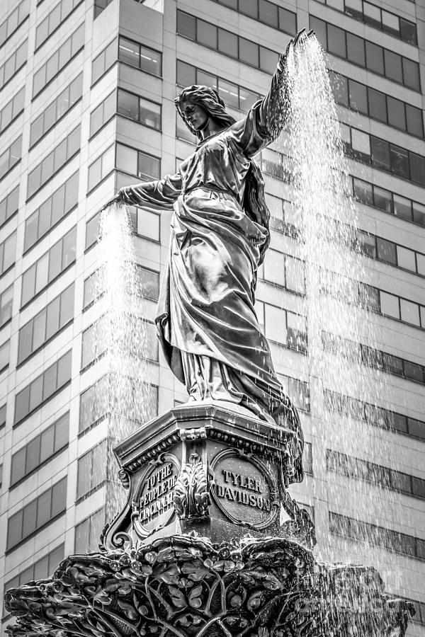 Cincinnati Tyler Davidson Fountain Black And White Photo Photograph