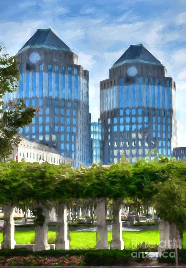 Office Towers Photograph - Cincinnatis Twin Towers by Mel Steinhauer