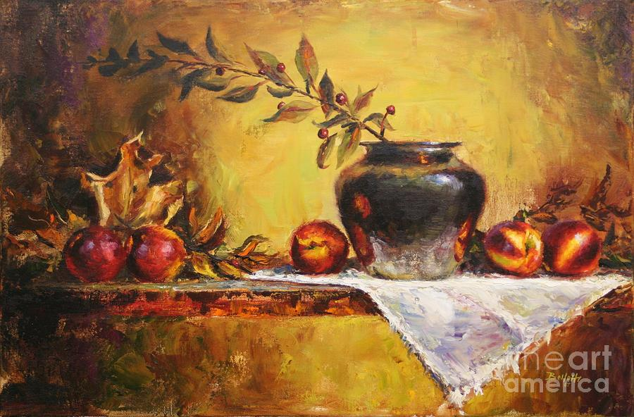 Oil Painting Painting - Cinco Nectarinos by Michael Bellotti