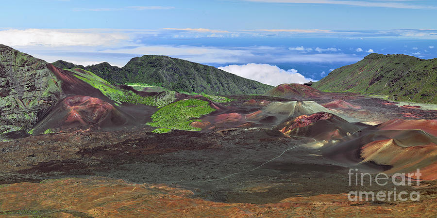 Cinder Cones and Lava Flow Define the Haleakala Crater by Frank Wicker