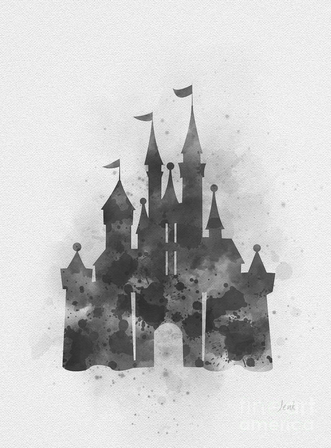 Cinderella Mixed Media - Cinderella Castle Black And White by My Inspiration