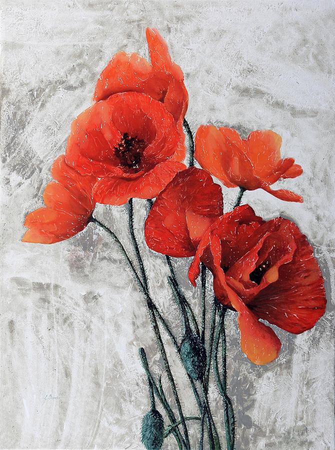 Poppy Painting - Cinque Papaveri by Guido Borelli