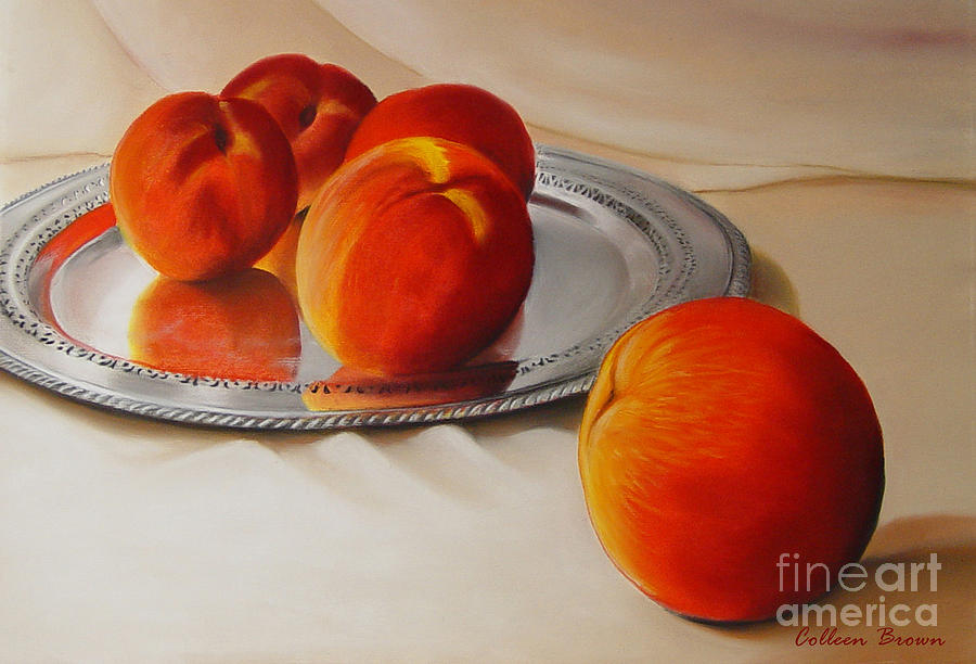 Still Life Painting - Cinque Pesche by Colleen Brown