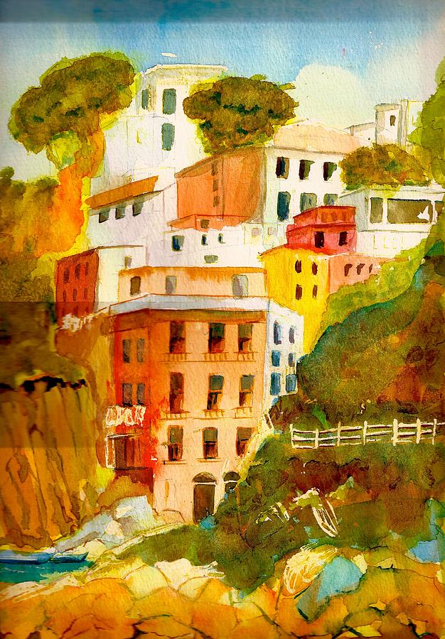 Village Painting - Cinque Terre by KC Winters