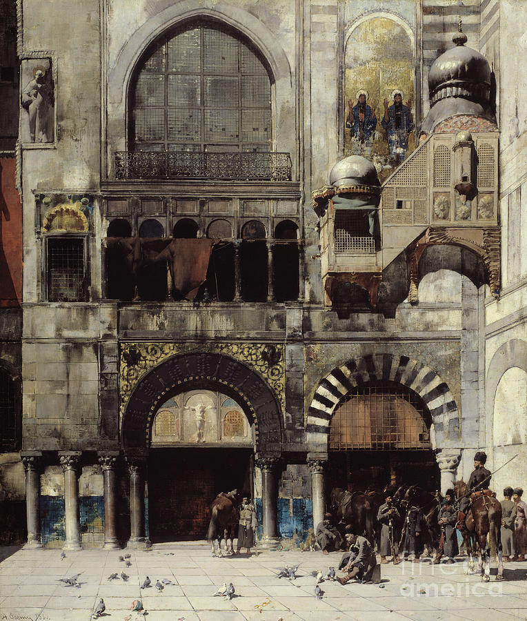Courtyard Painting - Circassian Cavalry Awaiting Their Commanding Officer At The Door Of A Byzantine Monument by Alberto Pasini