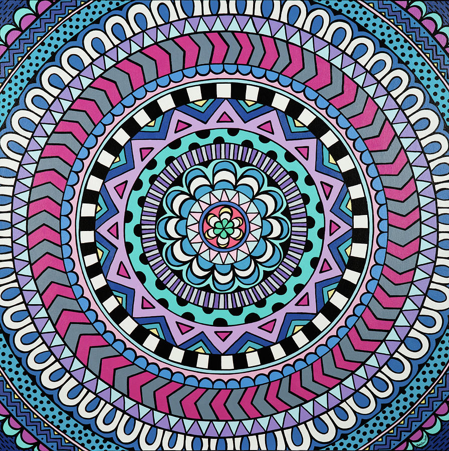 Mandala Painting - Purple Mandala by Beth Ann Scott