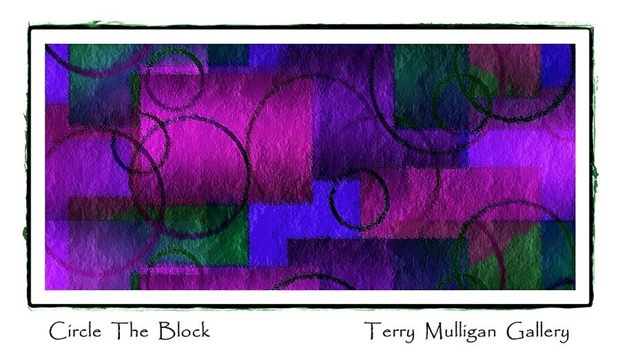 Circle Digital Art - Circle The Block In Purple And Blue by Terry Mulligan