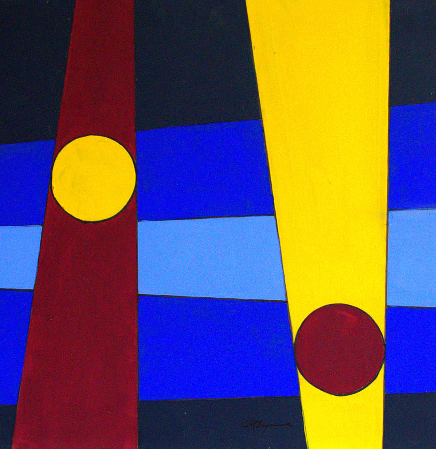 Abstract Painting - Circles Lines Color by J R Seymour