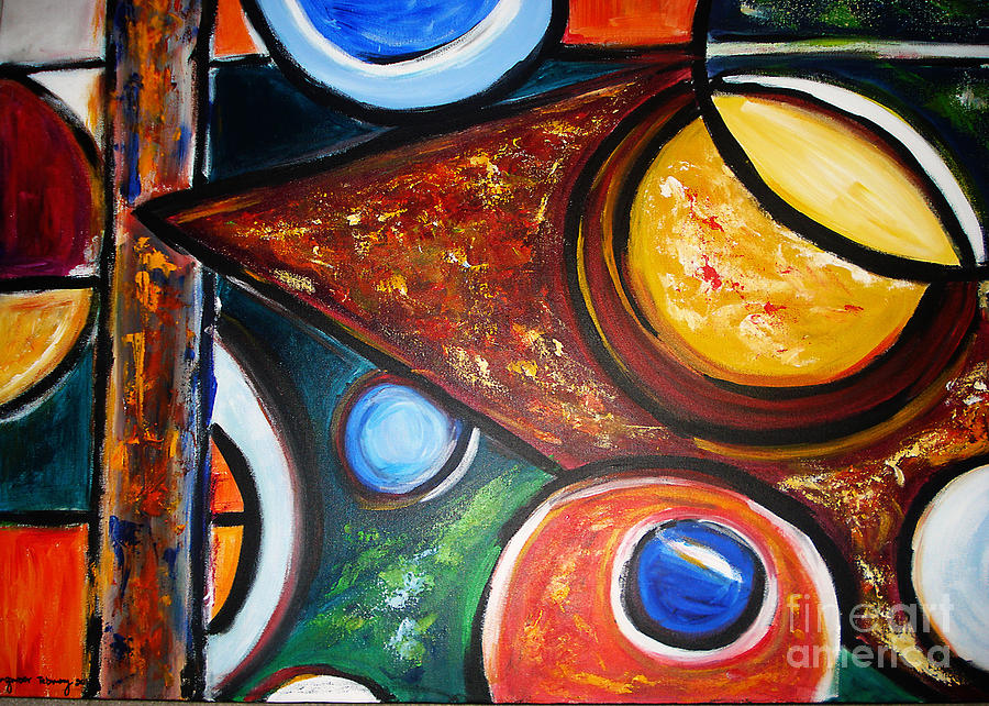 Abstract Painting Painting - Circles Of  Life by Yael VanGruber