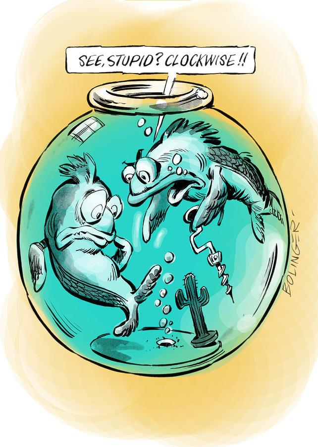 Fish Digital Art - Circling The Drain. by Bruce Bolinger
