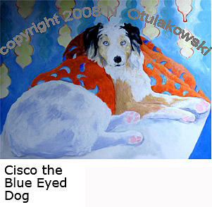 Australian Shepherd Painting - Cisco The Blue Eyed Dog by Nina Otulakowski