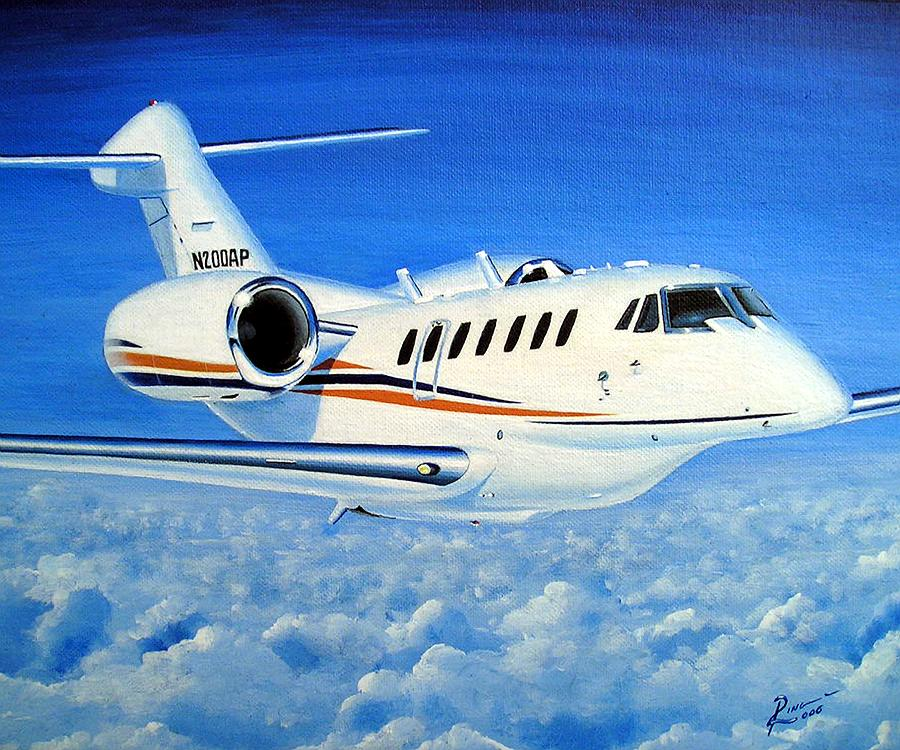 Cessna Painting - Citation 750-10 N200AP by Peter Ring Sr