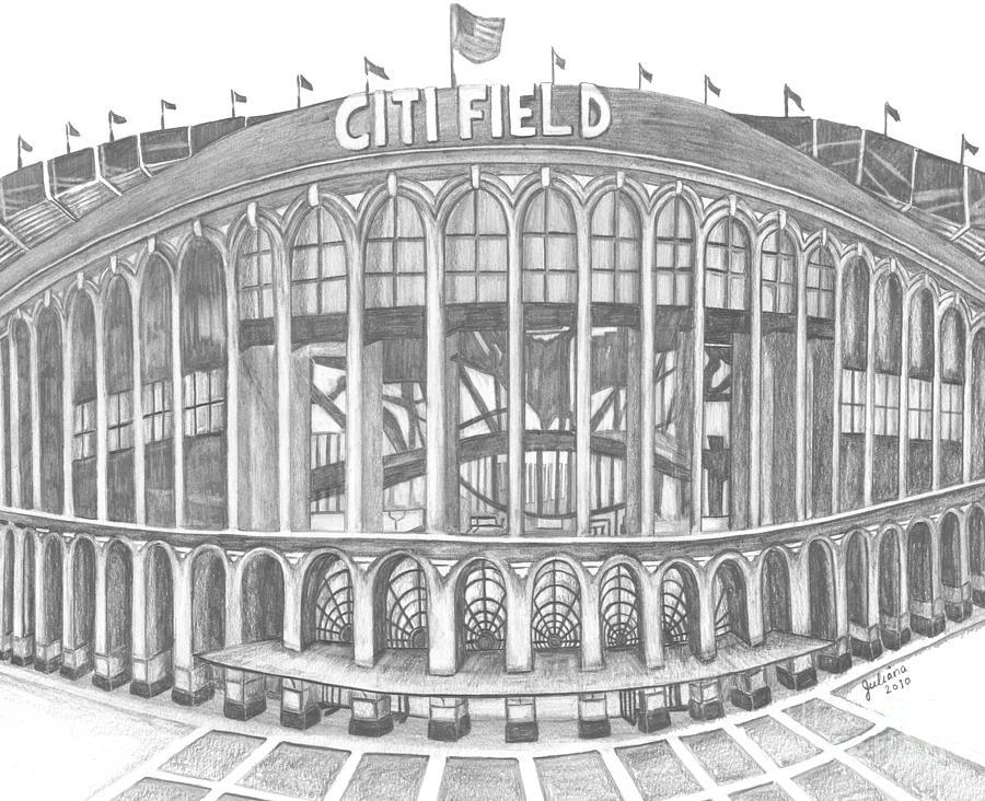 Citi Field Drawing - Citi Field by Juliana Dube