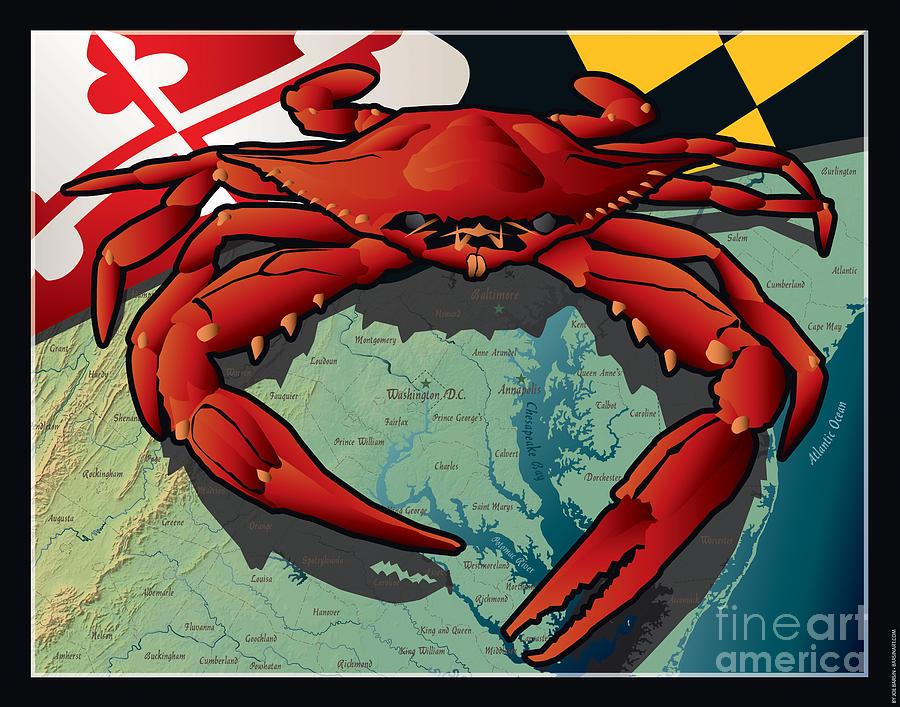 Crab Digital Art - Citizen Crab of Maryland by Joe Barsin