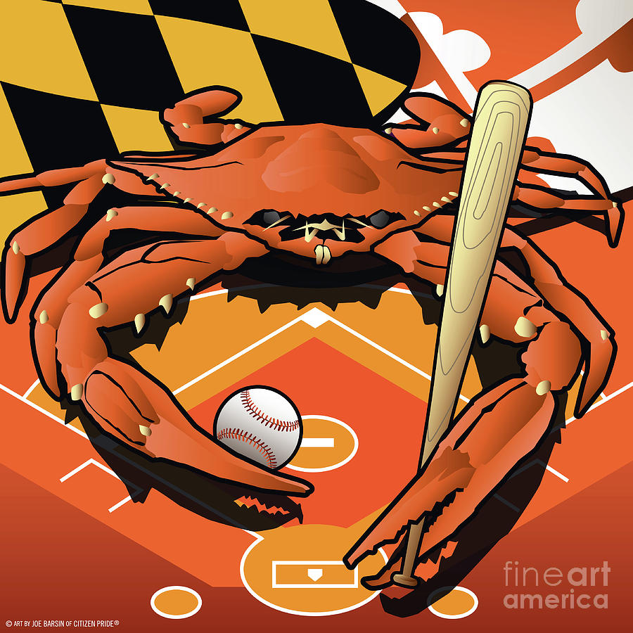 Citizen Crab Oriole, Marylands Crab Celebrating Baseball Digital Art