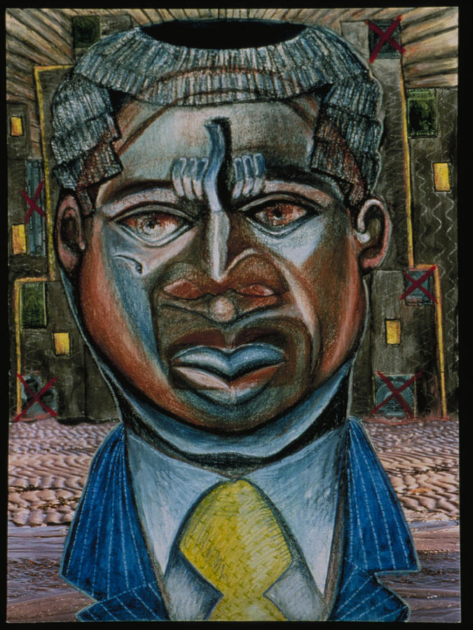 Wall Street Drawing - Citizen Of The World Aka Voodoo Economics by Barbara Nesin