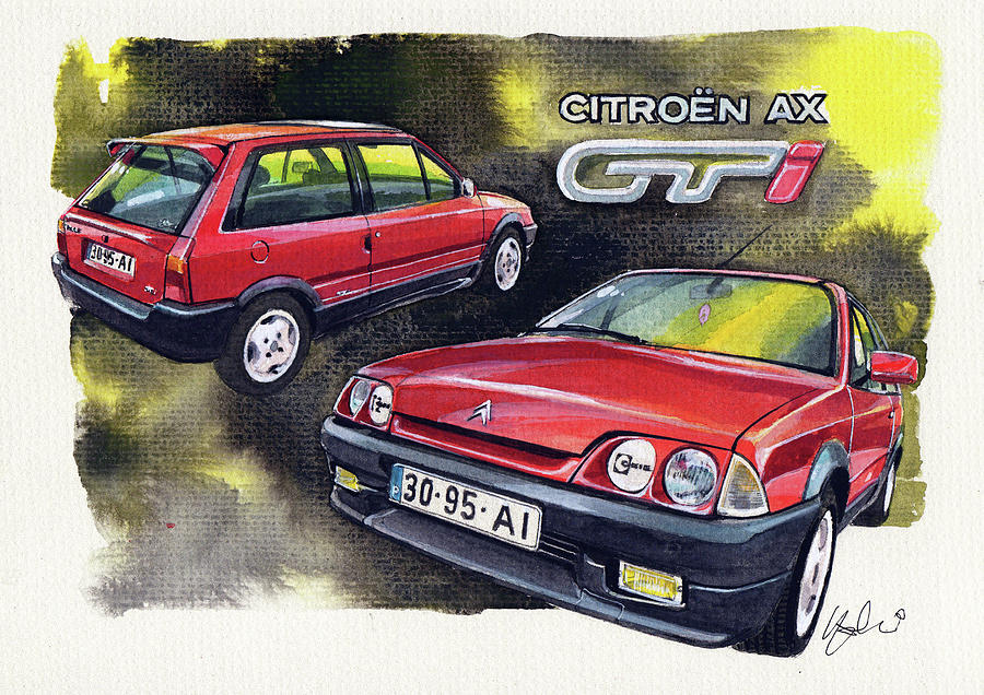 citroen ax gti painting by yoshiharu miyakawa. Black Bedroom Furniture Sets. Home Design Ideas