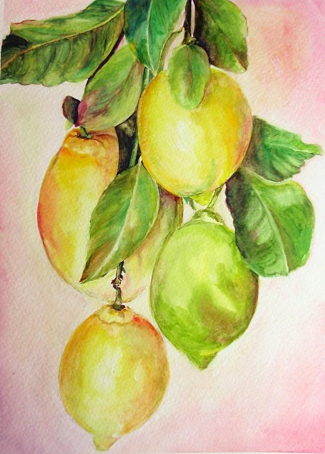 Still Life Painting - Citrons by Muriel Dolemieux
