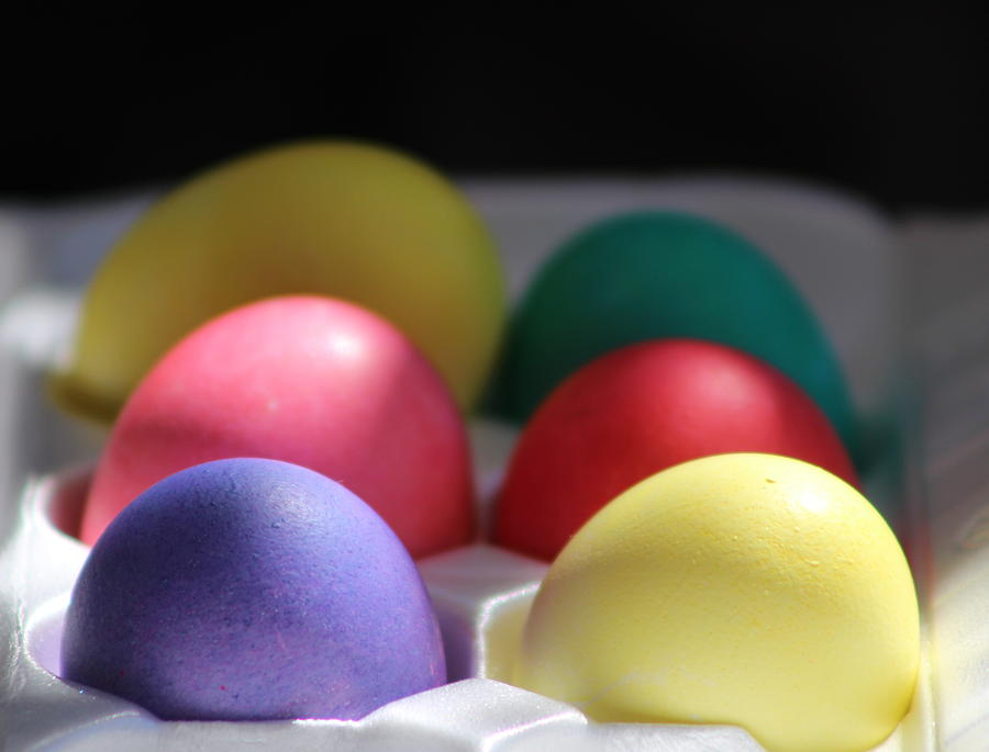 Dye Photograph - Citrus and Ultra Violet Easter Eggs by Colleen Cornelius