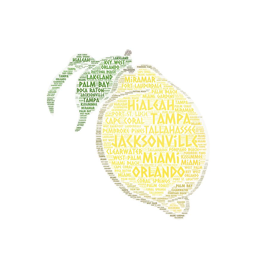 Jacksonville Photograph - Citrus Fruit Illustrated With Cities Of Florida State by Artpics