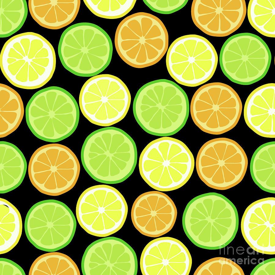 Citrus On Black, Lemon Orange Lime Pattern Digital Art by Tina Lavoie