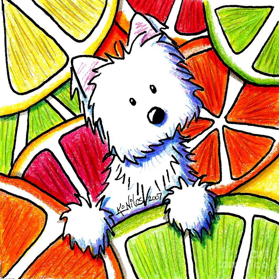 Dog Painting - Citrus Westie by Kim Niles
