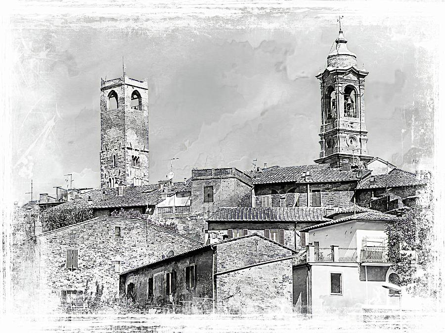 Citta della Pieve Skyline Black and White by Dorothy Berry-Lound