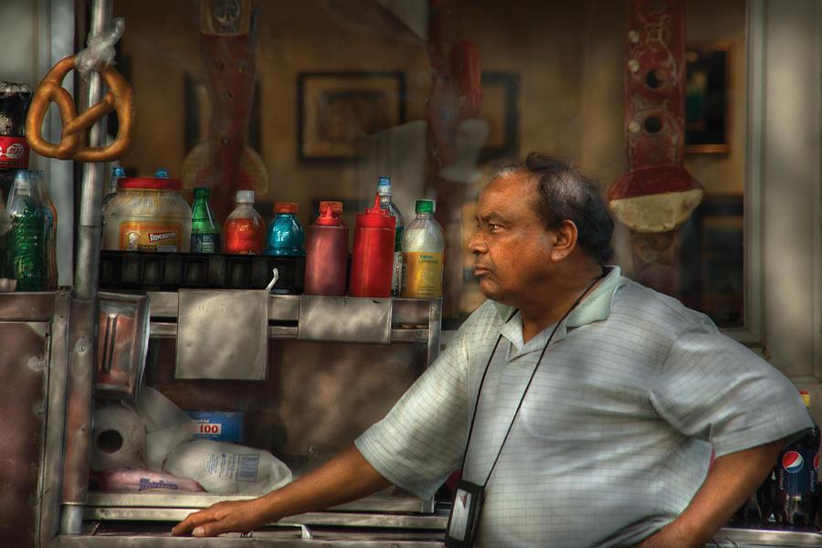 Savad Photograph - City - Ny - The Pretzel Vendor by Mike Savad