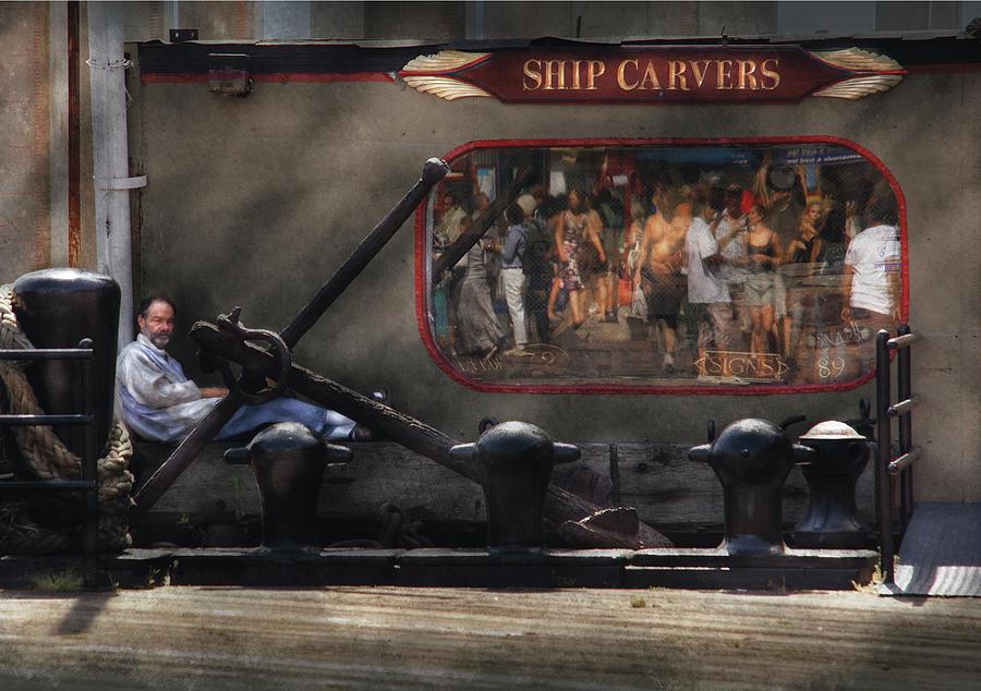 Savad Photograph - City - Ny South Street Seaport - Ship Carvers by Mike Savad