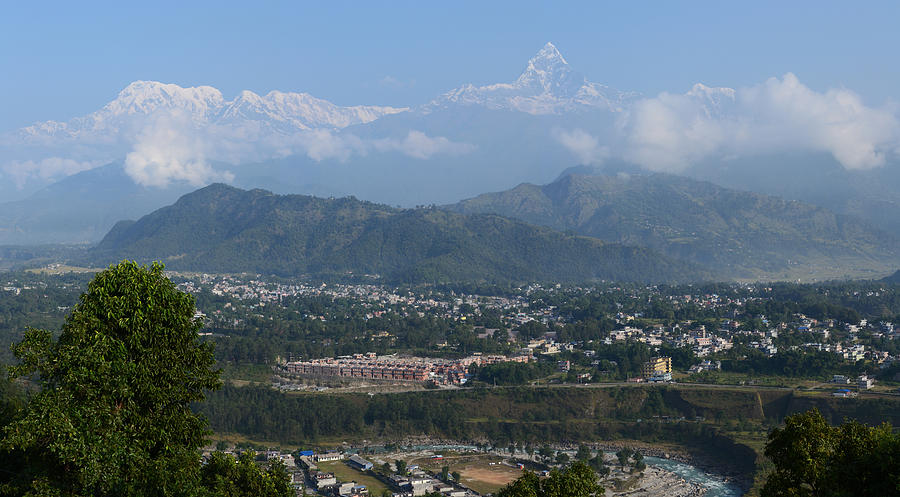 Mountain Photograph - City And Annapurna  View  by Atul Daimari