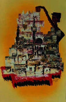 Land Painting - City And Man by Marwan Al-Allan