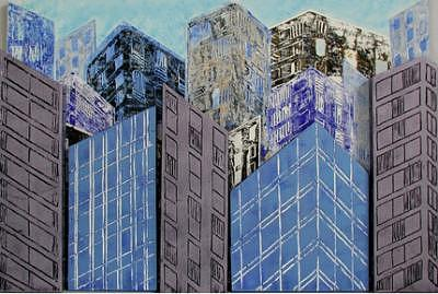 City Angles In Blue Mixed Media by Norine Zapata