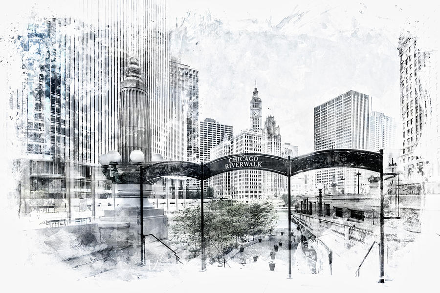 Abstract Digital Art - City Art Chicago Downtown View by Melanie Viola