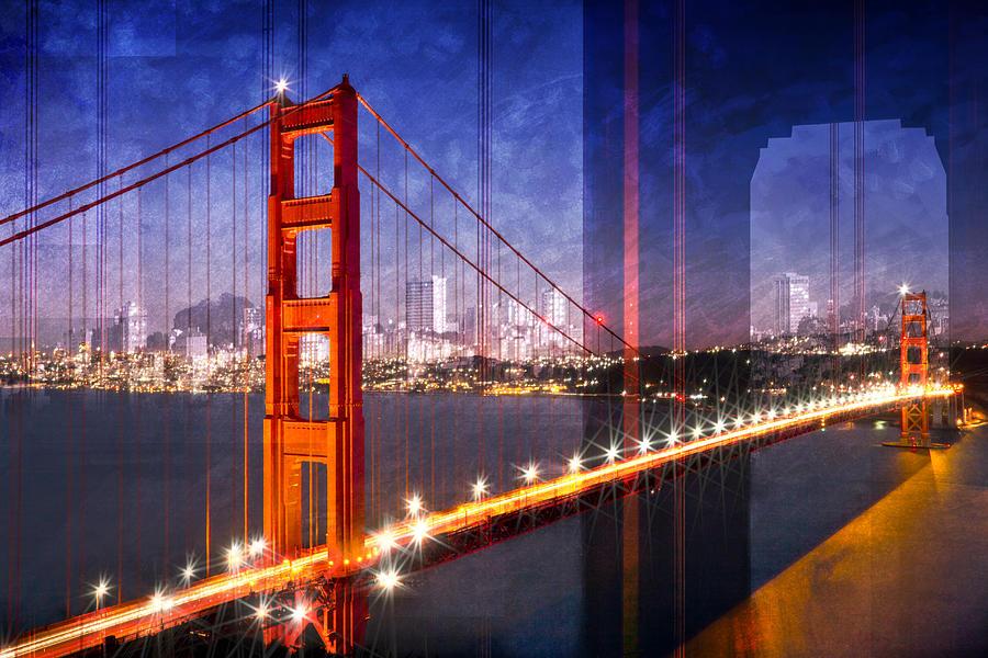 America Photograph - City Art Golden Gate Bridge Composing by Melanie Viola