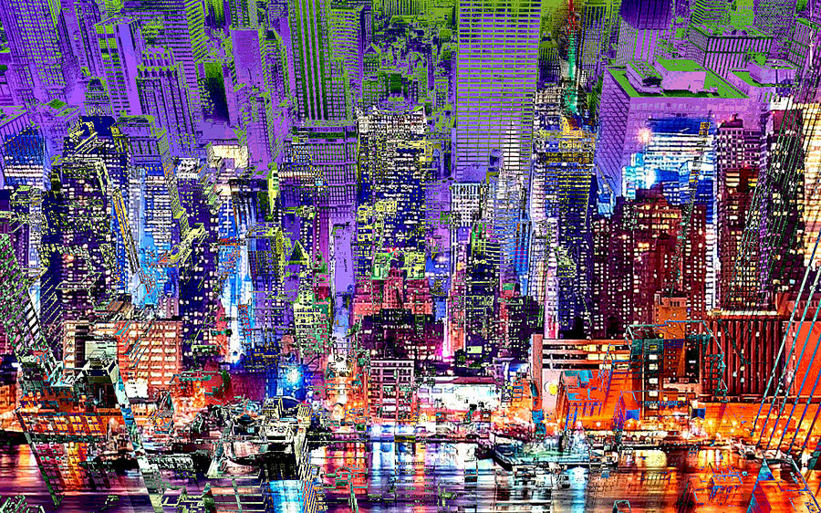 City Digital Art - City Art Syncopation Cityscape by Mary Clanahan