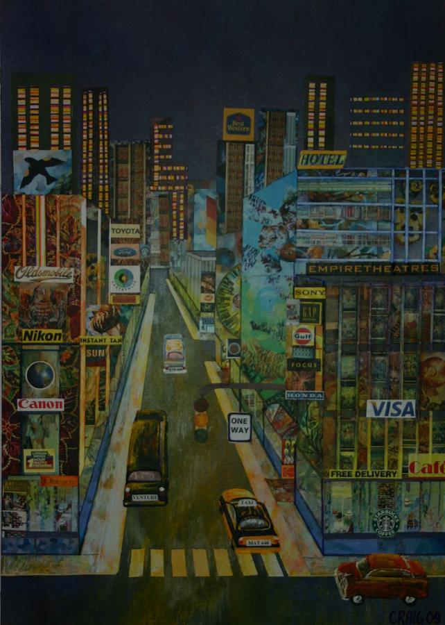 City At Night Mixed Media by Bob Craig