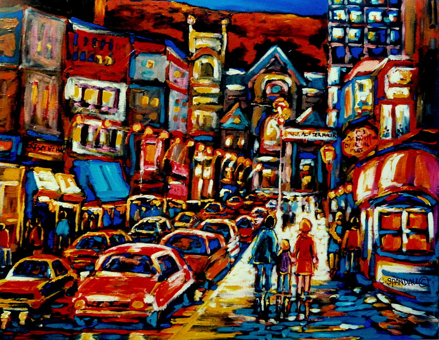 Streetscenes Painting - City At Night Downtown Montreal by Carole Spandau