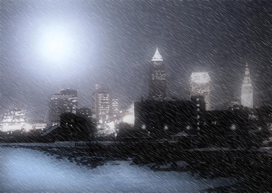 Cleveland Photograph - City Bathed In Winter by Kenneth Krolikowski