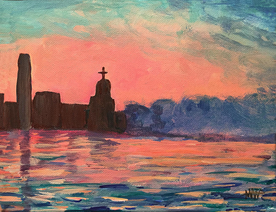 Landscape Painting - City by the sea by Maura Satchell
