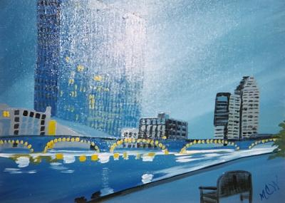 Architecture Painting - City By The Water Original by Christine Ward