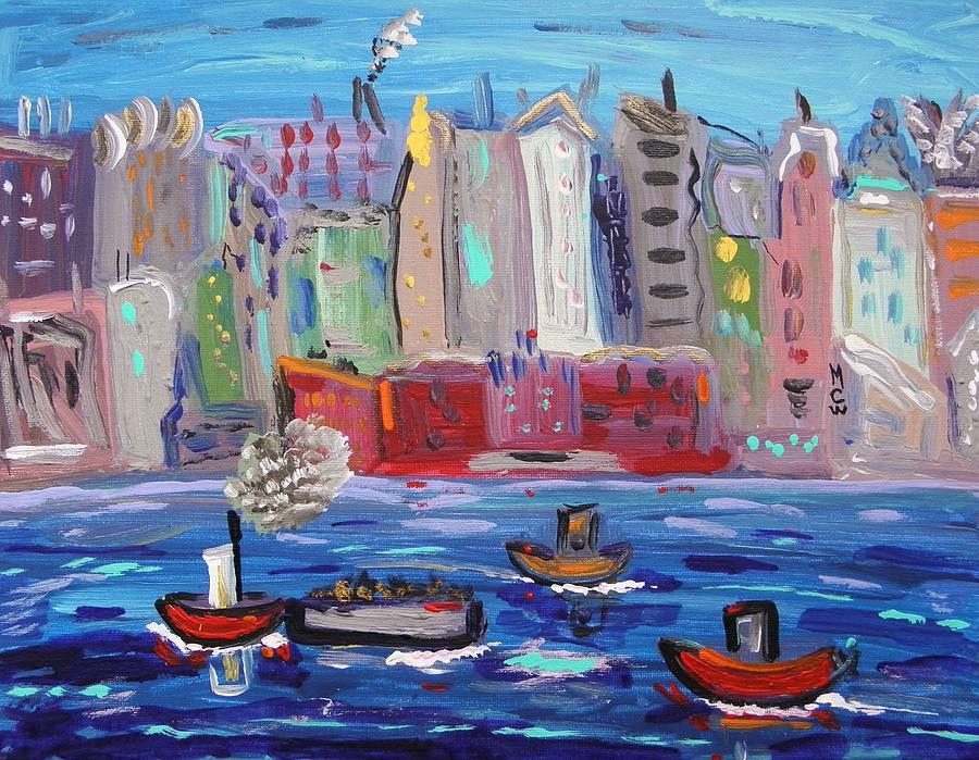 Boats Painting - City City City by Mary Carol Williams