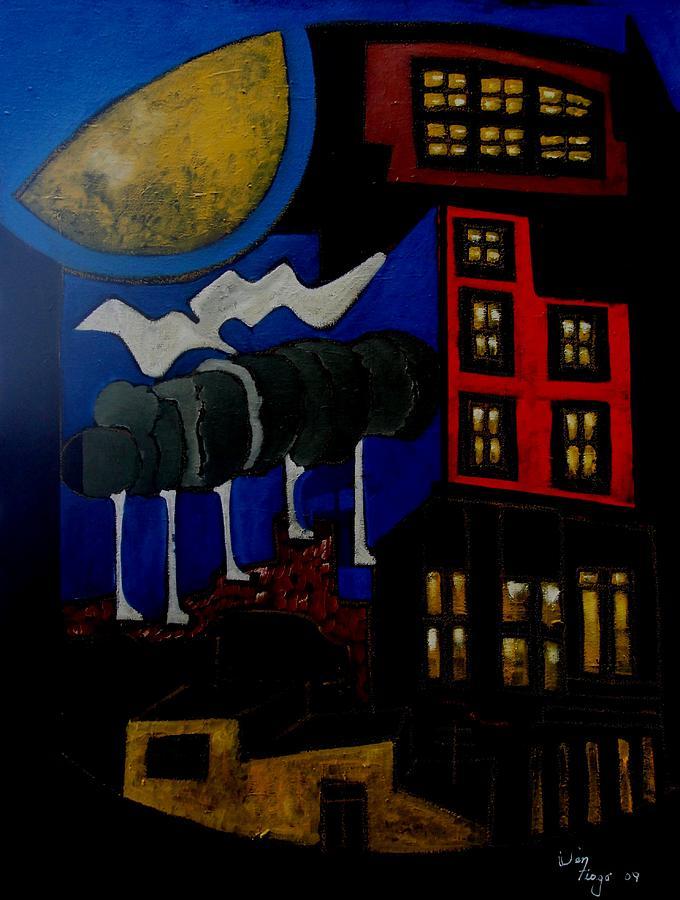 City Closed Up Painting by Adalardo Nunciato  Santiago