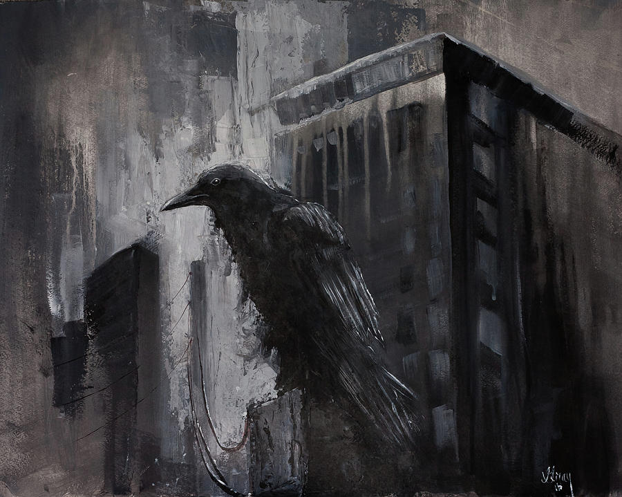 City Dweller Raven Dark Gothic Crow Wall Art Painting by ...