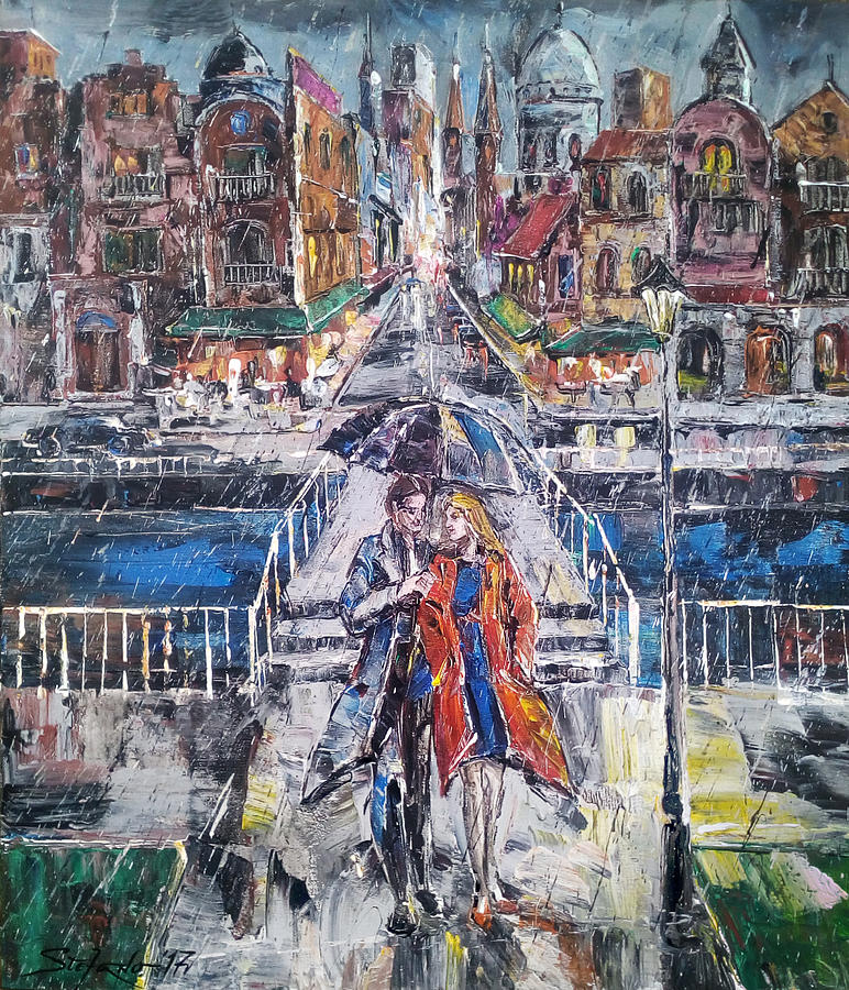 Acrylic Painting - City for Two by Stefano Popovski