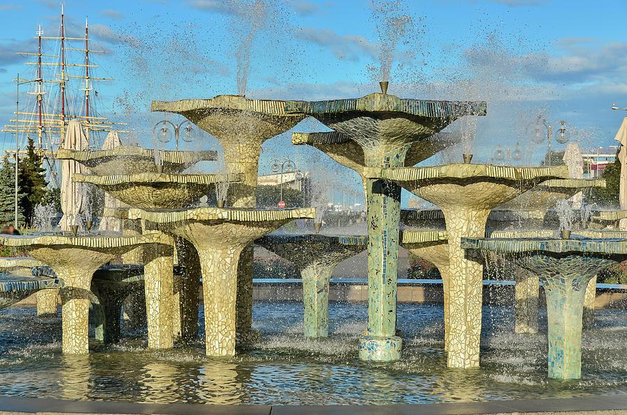 City Fountain Landscape Photograph