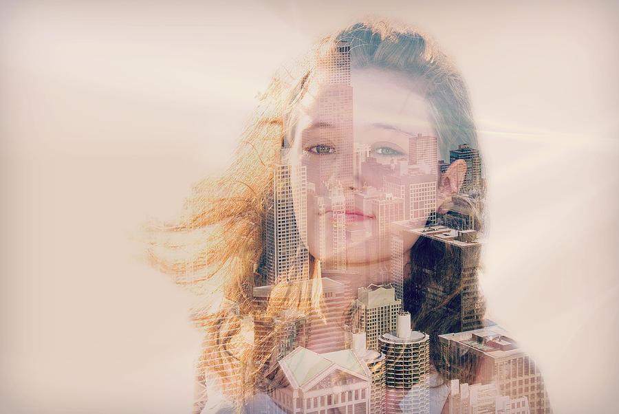 Teenage Mixed Media - City Girl by Maria Dryfhout