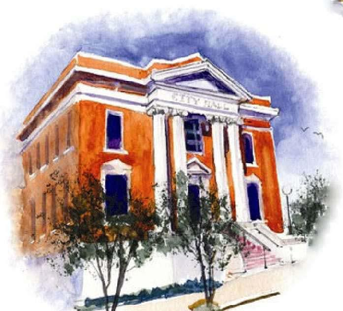 Old Buildings Painting - City Hall  Hattiesburg  Mississippi by Bobby Walters