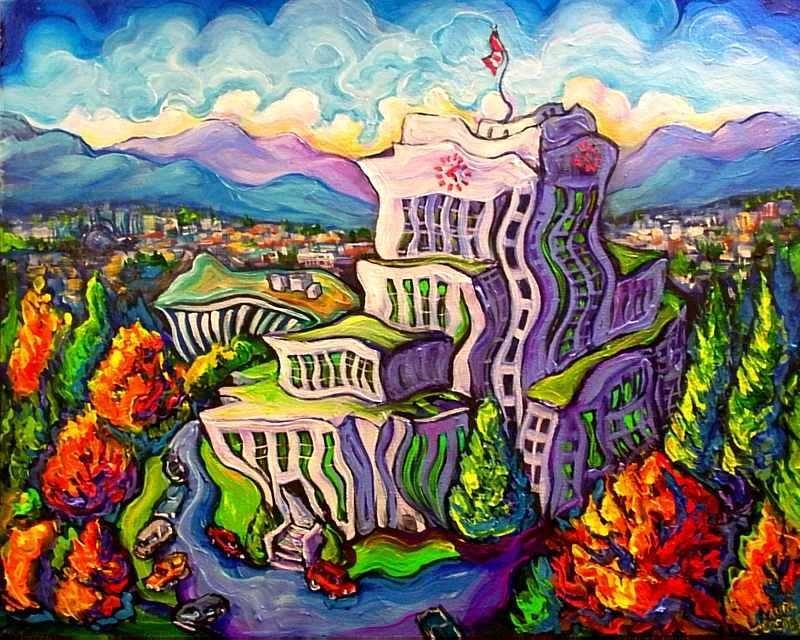 City Hall  Painting by Laura Zerebeski