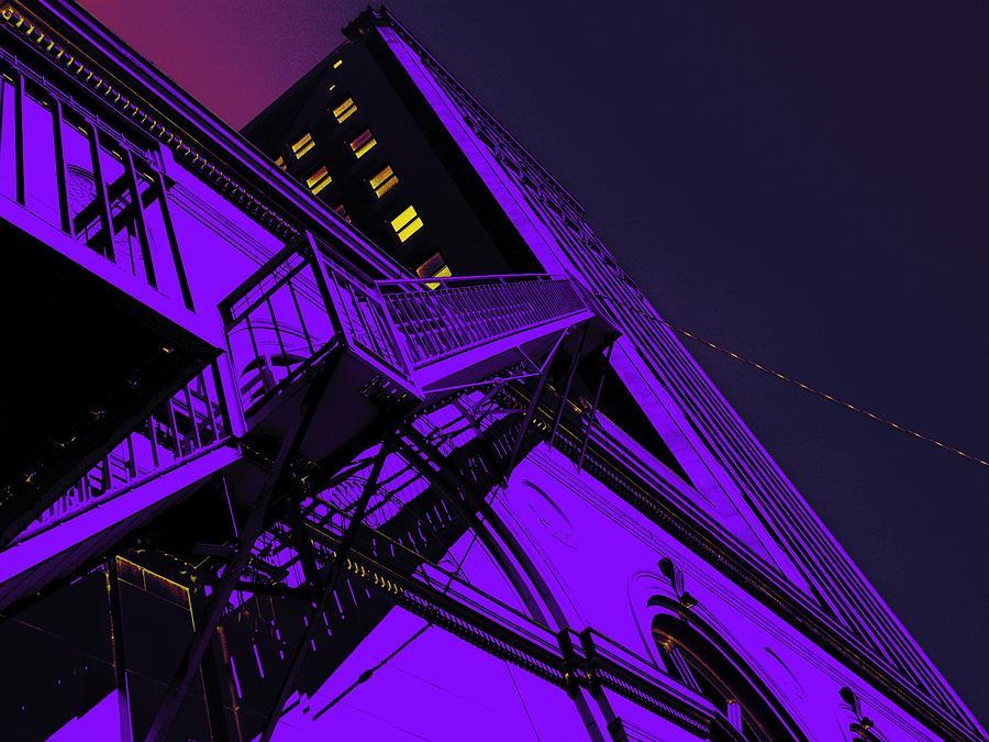 San Antonio Photograph - City Hall Stairs, In Indigo by Edgar Farrera