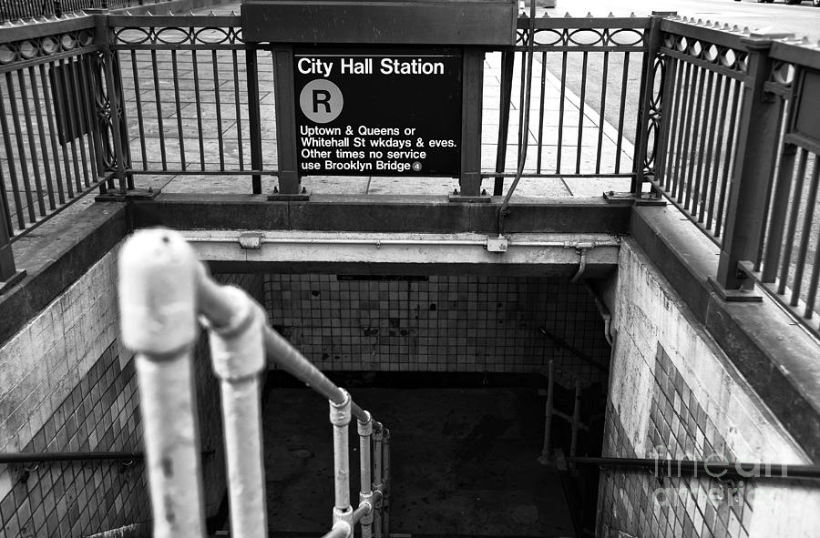 City Hall Station Photograph - City Hall Station Mono by John Rizzuto
